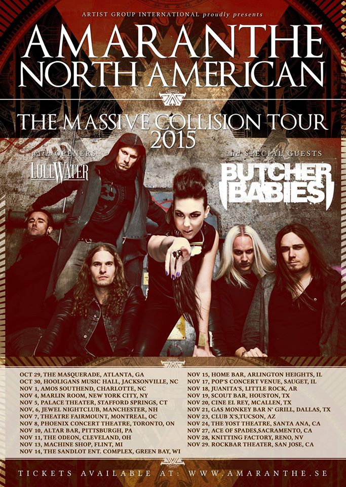 Amaranthe U.S Tour Oct 29 – Nov 29